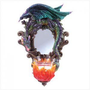 Dragon wall candle holder mirror