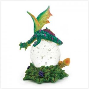 Blue Dragon with glass ball figurine