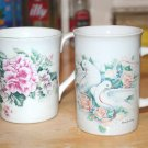 2 vintage bird floral print rose dove Mug cup Set England bone china otagiri art