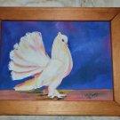 made in USA 90's handmade medium size white bird painting wood frame framed sky