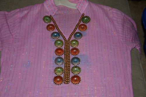 tunic ethnic Pakistan handmade vintage womens small xs boho sheer cotton blouse