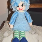 Large Crocheted Knitted knit Crochet Handmade USA Folk Craft stuffed Doll girl