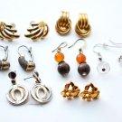 vintage 7 pairs gold metal earrings pierced ears retro bead dangle