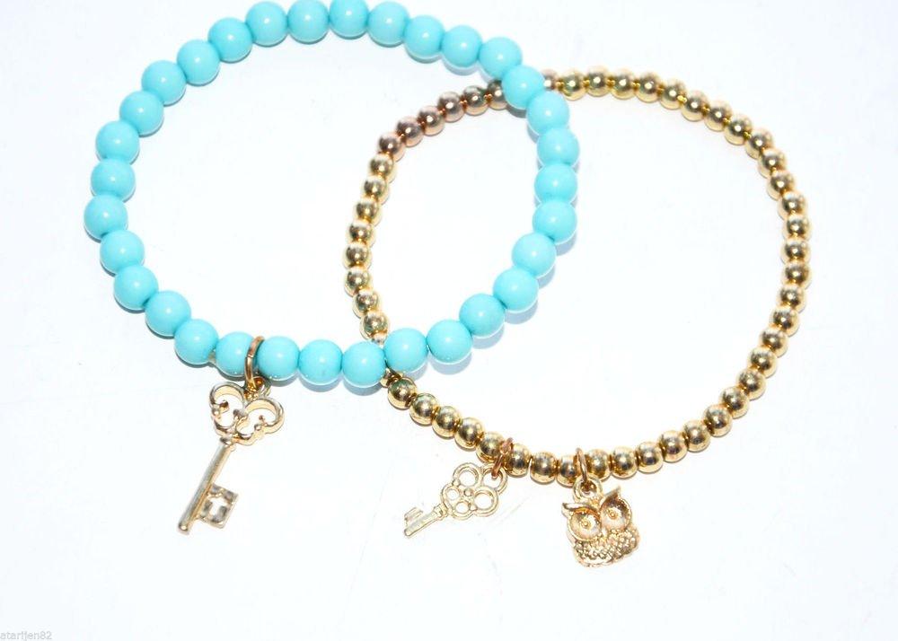 Mint vintage 2 stretch bead bracelet retro childrens girls owl key gold child sz