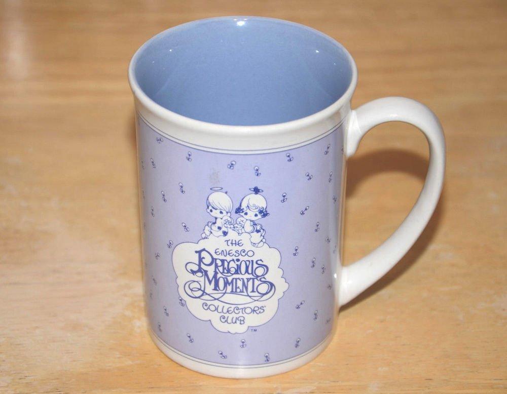 Vintage 1988 Precious moments Coffee Cup Mug Collectors Club enesco korea purple
