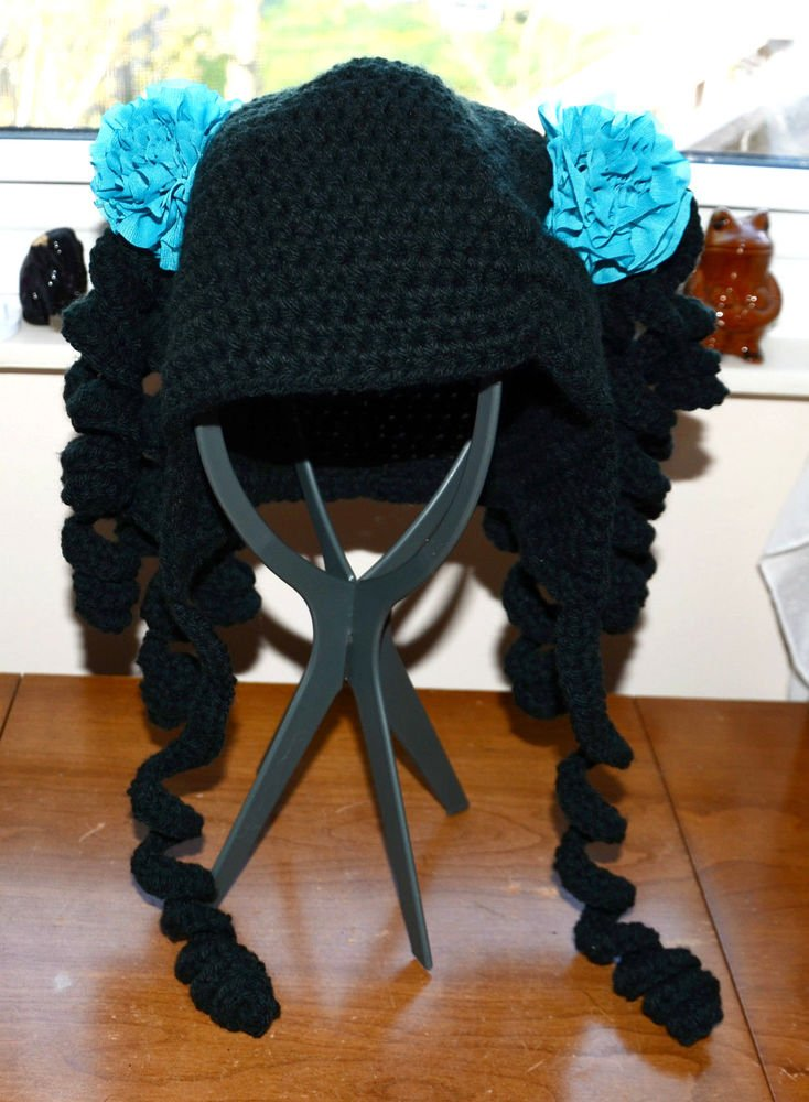 Made in USA Quality handmade knit crochet hat anime hair black wig head cover