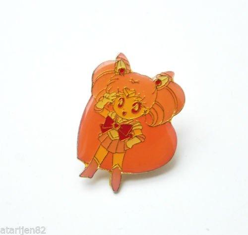 Sailor Moon vintage metal enamel heart shaped pin Chibimoon Rini pink chibiusa