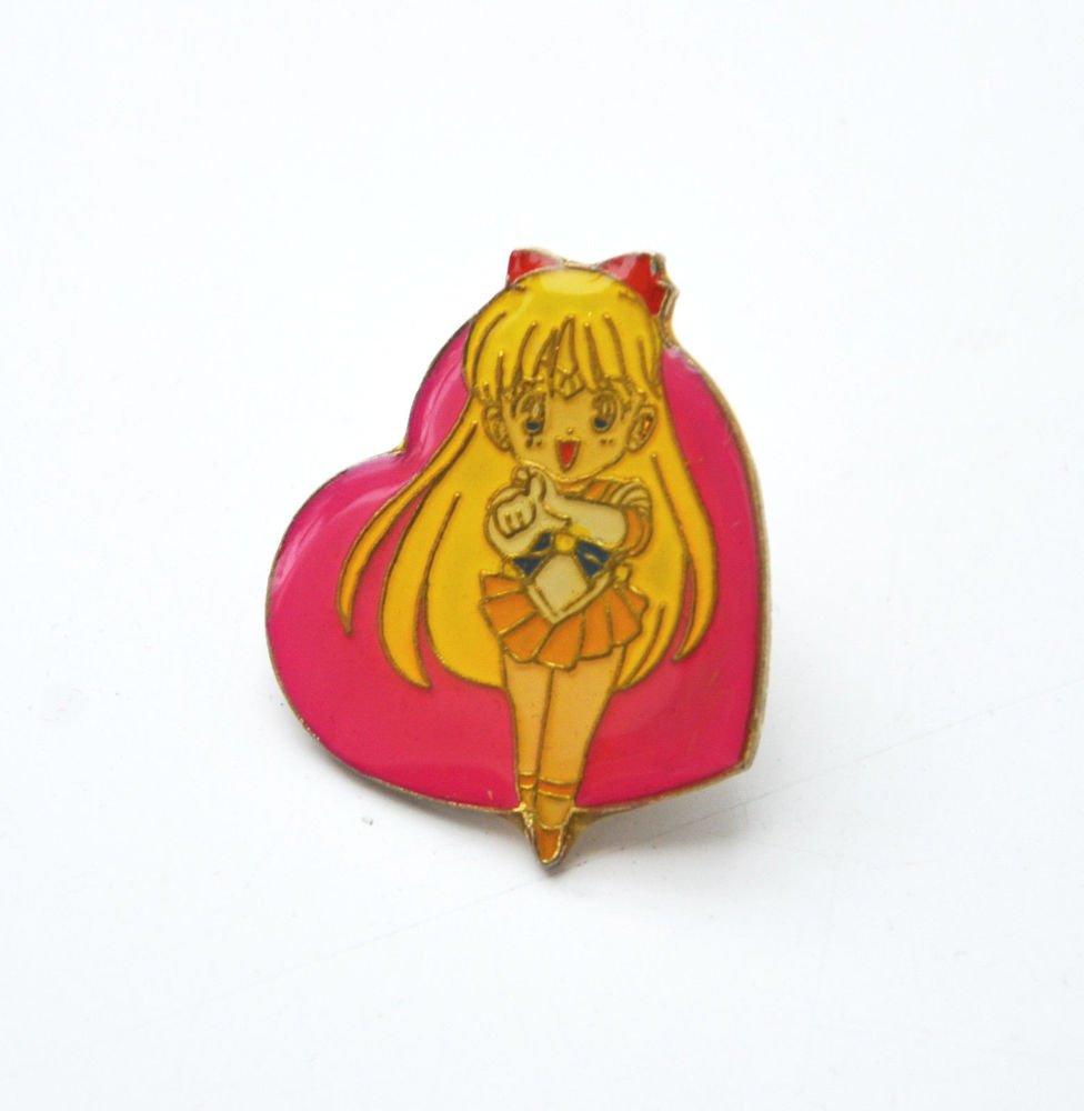 Sailor Moon vintage metal enamel heart shaped pin Sailor Venus Mina pink