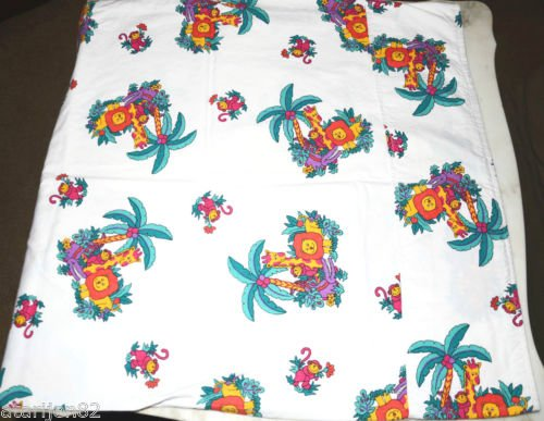 handmade vintage cotton pillow case jungle animals lion giraffe monkey alligator