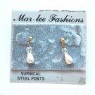 New vintage drop dangle pierced earrings gold metal clear bead faux pearl
