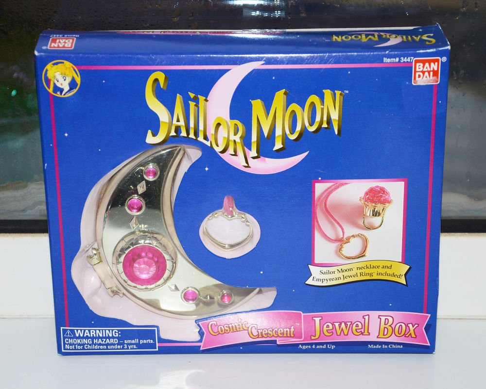 NEW SEALED Sailor Moon Cosmic Crescent Jewel Box ring jewelry Irwin necklace