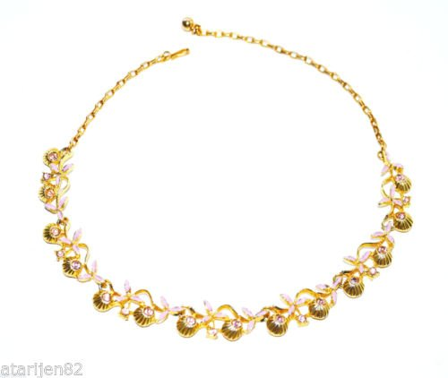 vintage flower shell choker necklace gold metal link rhinestone purple enamel