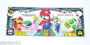 Super Mario Brothers vintage USA one million $1,000,000 dollar bill fake money
