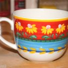 EUC ceramic Portuguese mug made in Portugal floral yellow red cappuccino coffee