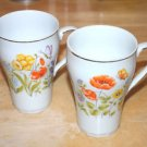 pair vintage floral BUTTERFLY flower print gold trim Mug cup glass Set porcelain