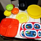 14 pc durable Children's modern vintage Bowl Plate Dinnerware Set infant toddler