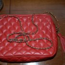 1960's True Vintage Italian leather red quilted bag gold chain strap purse 60's