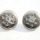 Euc vintage round silver floral metal Clip earrings large button shaped flower