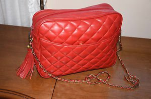 Vintage Italian leather quilted bag gold chain strap purse
