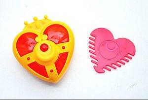 Sailor Moon transformation heart brooch compact comb set Japanese