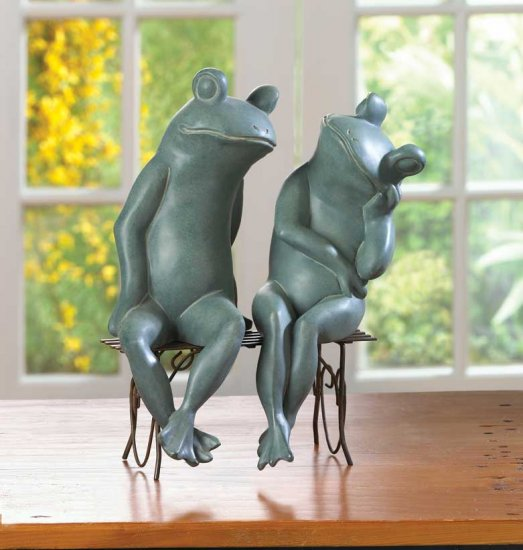 LOVING FROGS ON BENCH