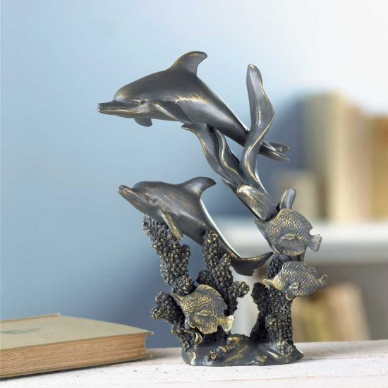 ANTIQUED DOLPHINS STATUE