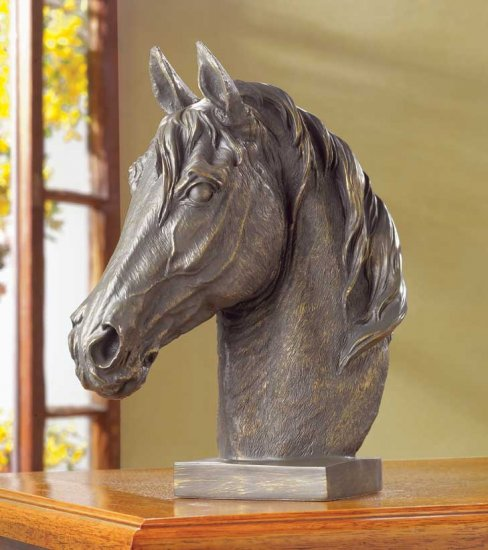 BRONZE-FINISH HORSE HEAD BUST