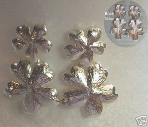 New Vintage BOLD Silver Dangle Flower Pierced Earrings