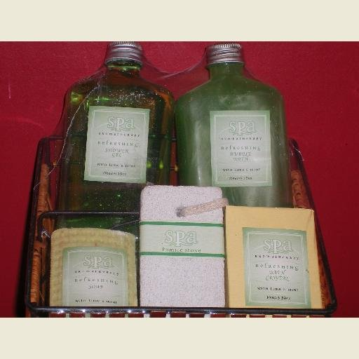 Spa Lime & Mint Bath Set with Basket