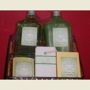 Spa Lime & Mint Bath Set with Basket