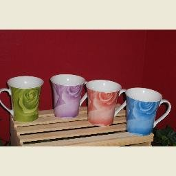 Rose Design Mugs (4)