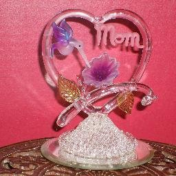 "Honeysuckle ""Mom"" Heart - Glass"