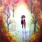 AUTUMN ROMANCE-HUGE 30 X 24  Abstract on canvas romantic