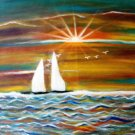 BOATS AT SUNSET-0riginal Acrylic on canvas paper-Inspirational