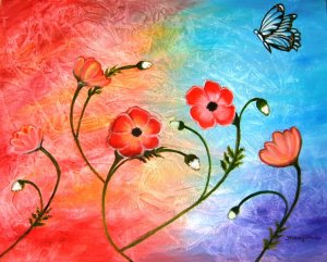 VIBRANT POPPIES ABSTRACT-Original abstract on canvas colourful and happy