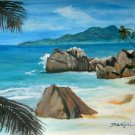 PARADISE ISLAND-Original acrylic landscape on watercolour paper
