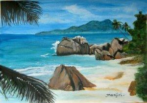 PARADISE ISLAND-Original acrylic landscape on watercolour paper
