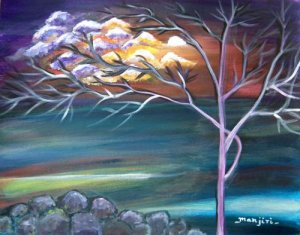 MYSTIC EVENING-Original abstract  landscape on canvas paper