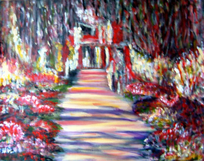 MAJESTIC GARDEN-ORIGINAL IMPRESSIONIST STYLE COLOURFUL LANDSCAPE on canvas paper