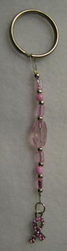 Pink Beaded Keychain with Charm