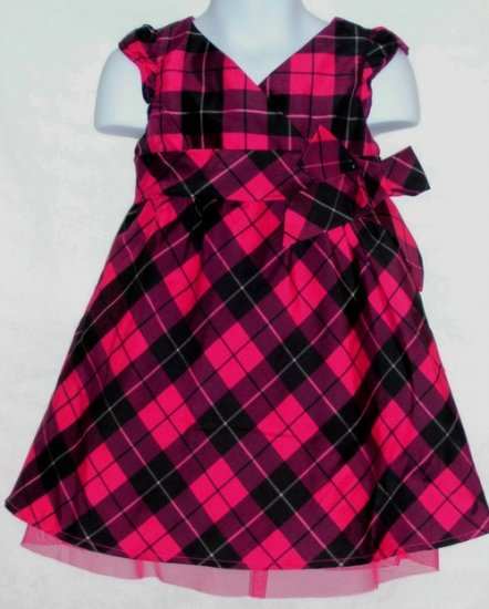 Old Navy Pink Black Plaid Dress ~ Size 4t ~ NWT
