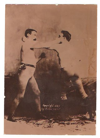 Real Photo of two men boxing in 1890