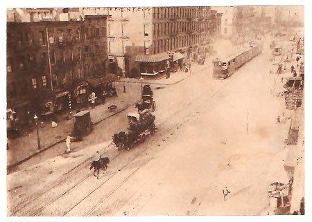 Real Photo-Wagon & Railroad car 11th Ave., NYC, 1900's