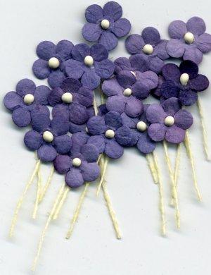 20 Purple Tiny Flowers w/ Pollen Stem Embellishment Card Topper