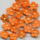 20 Orange Tiny Flowers w/ Pollen Stem Embellishment Card Topper