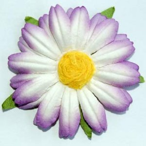 5 Large Purple / White Mulberry Flower Embellishment  Card Topper