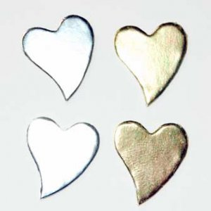 50 Gold and Silver Heart Diecut Card Topper Embllishment