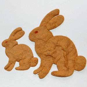10 Brown Bunny Mulberry Paper Die Cut Bunnies