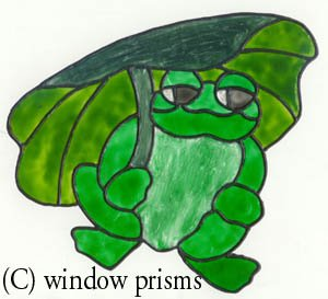 Frog Faux Stained Glass Window Cling Decal suncatcher