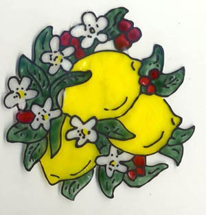 Lemon bunch Faux Stained Glass Window cling suncatcher